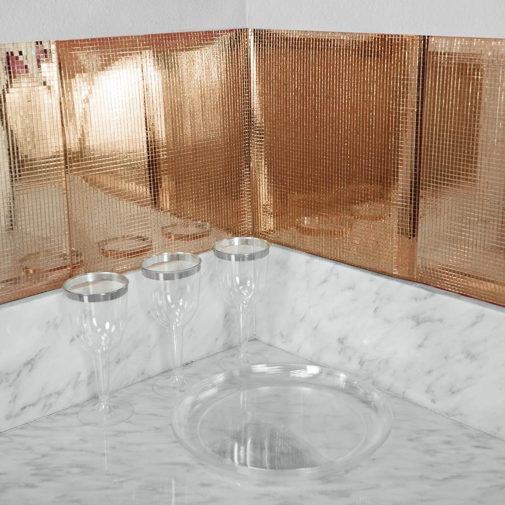 10 Pack 12 X12 Blush Rose Gold Peel And Stick Backsplash Mosaic Mirror Wall Tiles Mirror Wall Tiles Metallic Wall Tiles Wall Tiles