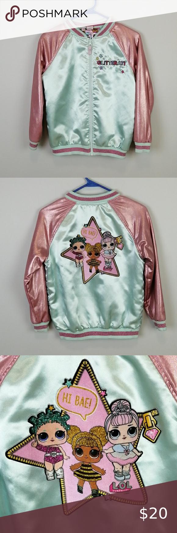 L O L Dolls Satin Reversible Bomber Jacket Size L Girls Puffer Coat Boys Pea Coat Toddler Winter Jackets [ 1740 x 580 Pixel ]