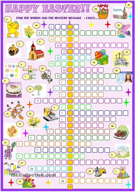 Easter Crossword Puzzle Easter Crossword Easter Worksheets Crossword