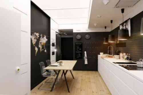 idée de déco de cuisine en noir et blanc