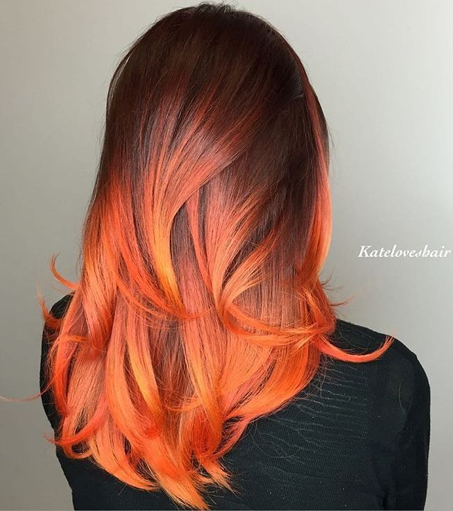 60 Best Ombre Hair Color Ideas For Blond Brown Red And Black Hair Hair Styles Fire Hair Orange Ombre Hair