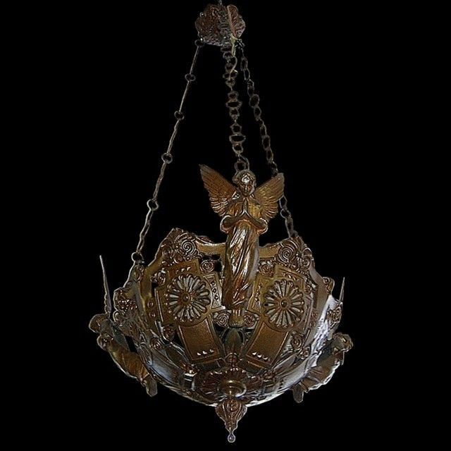 Bronze Chandelier with Winged Angels #7043 in Antiques, Architectural & Garden, Chandeliers, Fixtures, Sconces | eBay