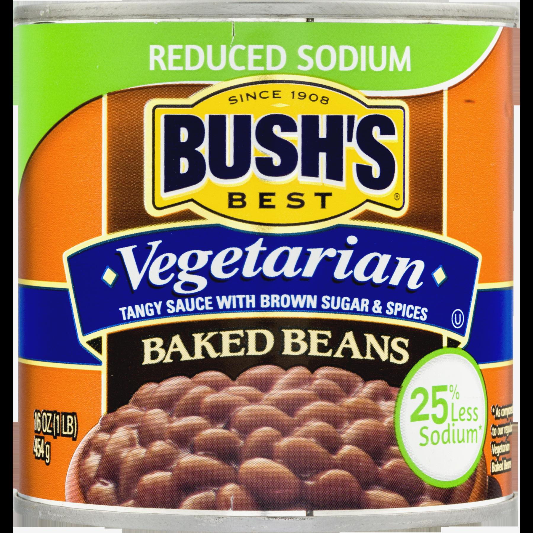 Bush S Best Reduced Sodium Vegetarian Baked Beans 16 Oz Vegetarian Bake Vegetarian Baked Beans Baked Beans