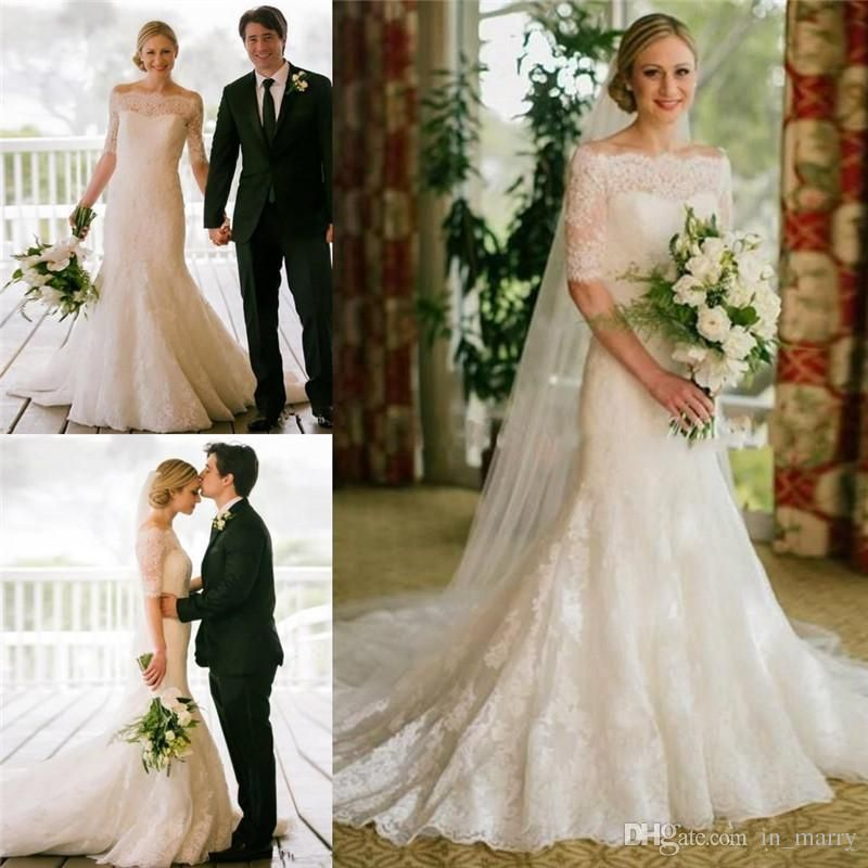 Elegant full lace mermaid wedding dresses with half for Plus size trumpet wedding dress with sleeves