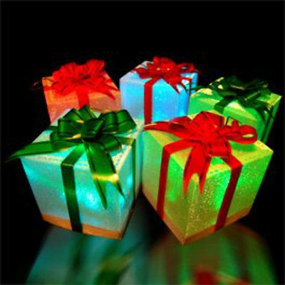 5 x led battery powered light up sparkle christmas present boxes parcel present