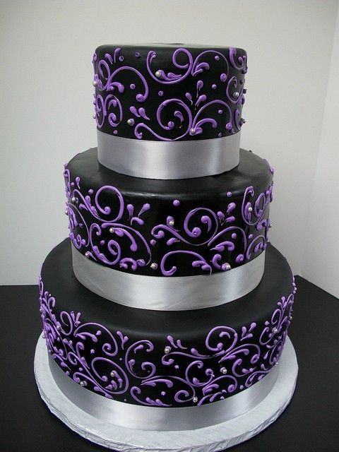 Purple And Silver Wedding Cakes Scrollwork Cake Black With
