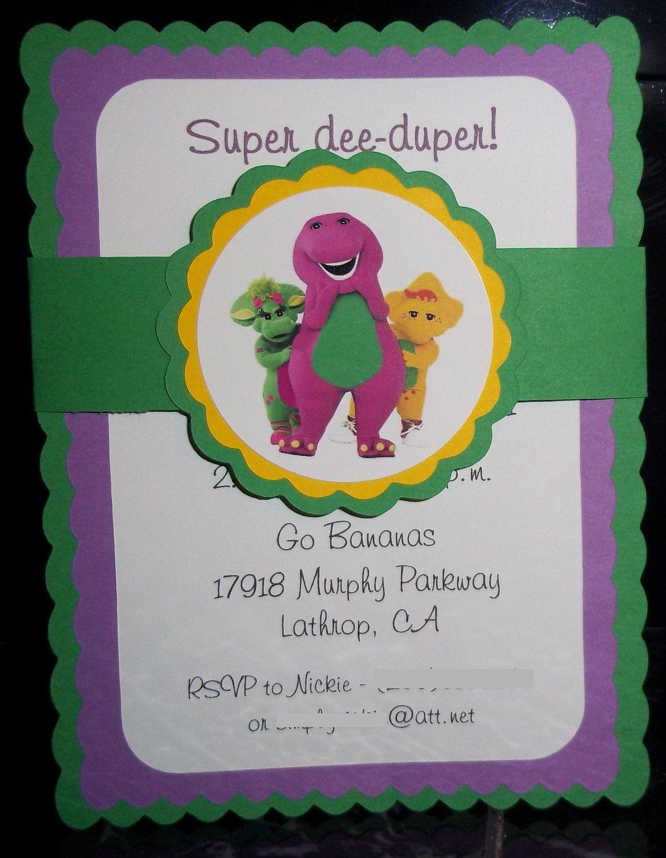 Barney and Friends, Happy Birthday Invitations | Happy birthday ...