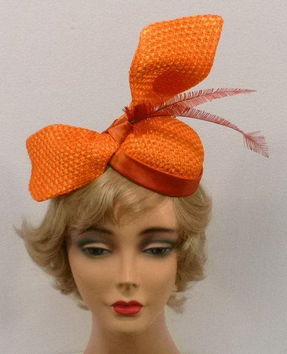 Orange Strawcloth Fascinator Hat with Satin by NouveauHatsbySharon