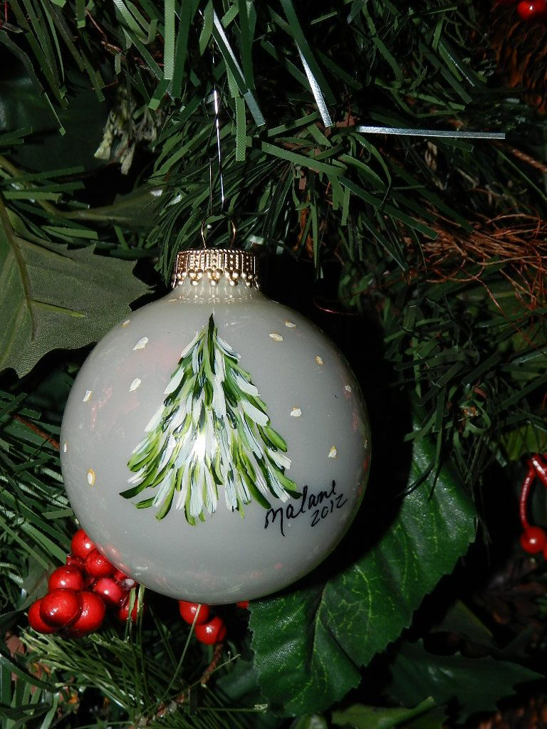 Glass Hand Painted Tree Ornament 9 99 Via Etsy