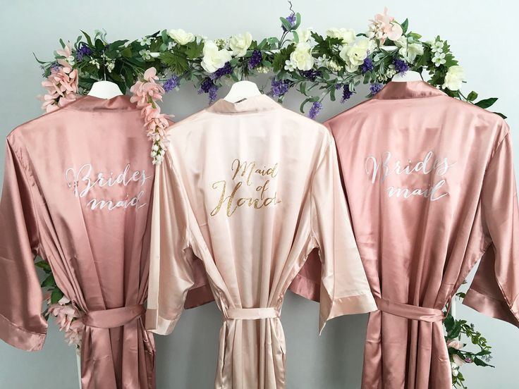 Bridesmaid robes Maid of Honor Robe Set of Blush Rose