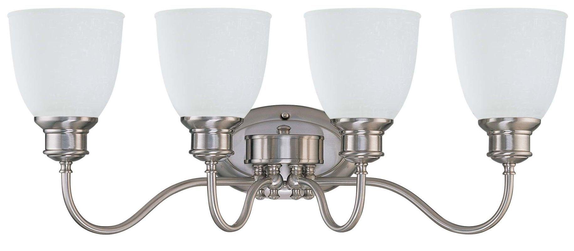 """Nuvo Lighting 60/2802 Bella 4 Light 26.5"""" Wide Vanity Light with Frosted Linen G Brushed Nickel Indoor Lighting Bathroom Fixtures Vanity Light"""