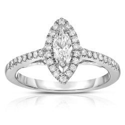 Marquise Engagement Ring in 14k White Gold