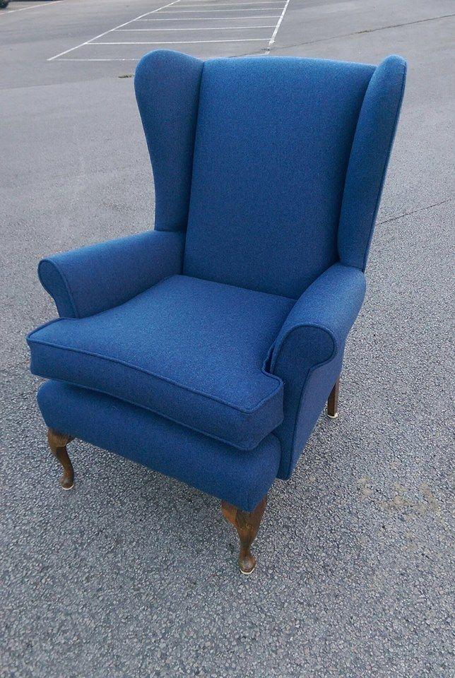 Vintage Parker Knoll reupholstered in denim blue wool
