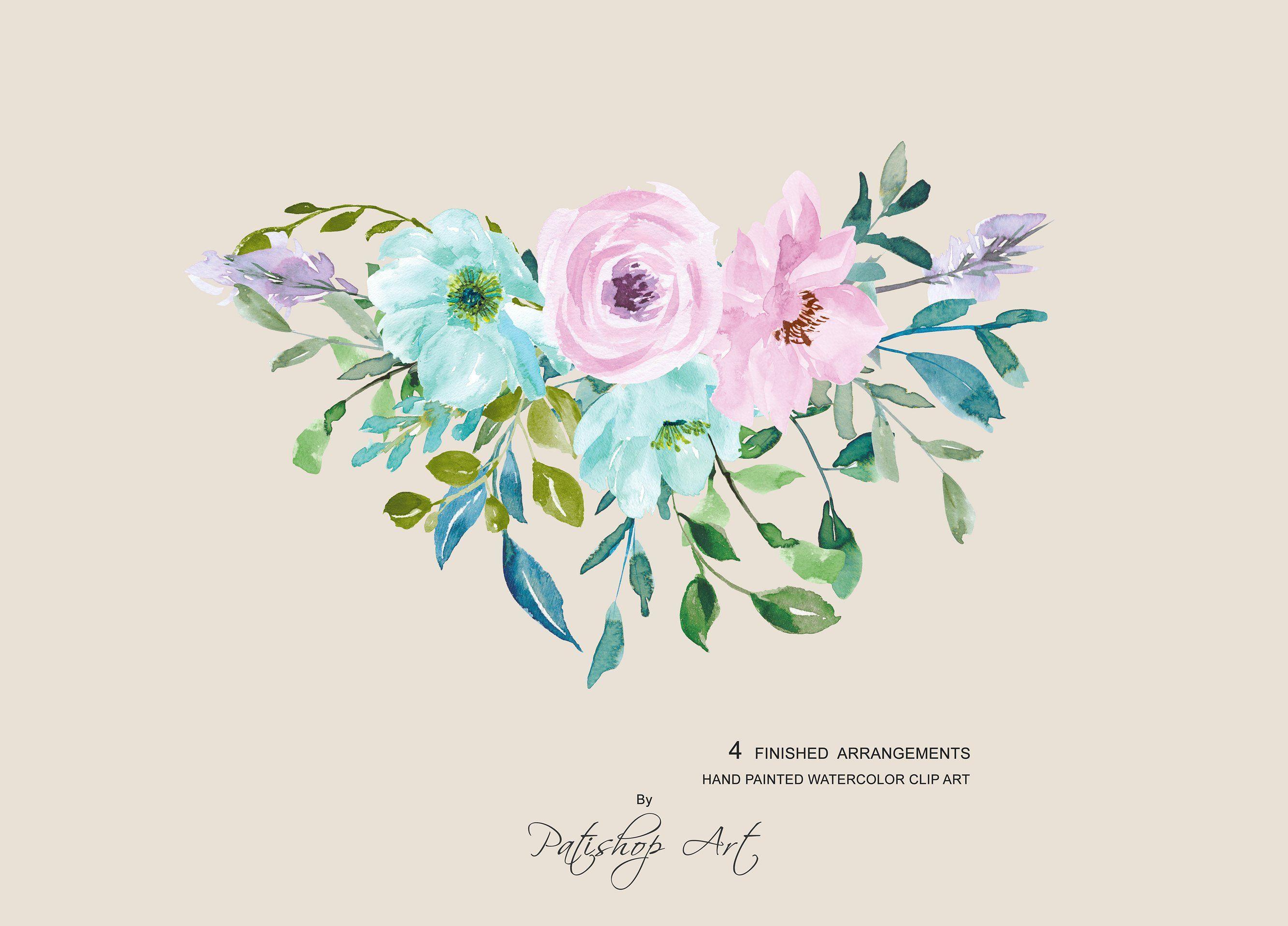 Watercolor Mint Floral Watercolor Flower Download Print
