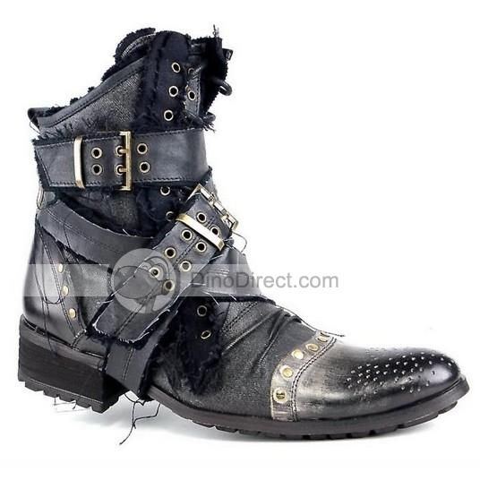 Retro Stylish Buckle Straps Leather Stitching Mens Boots ...