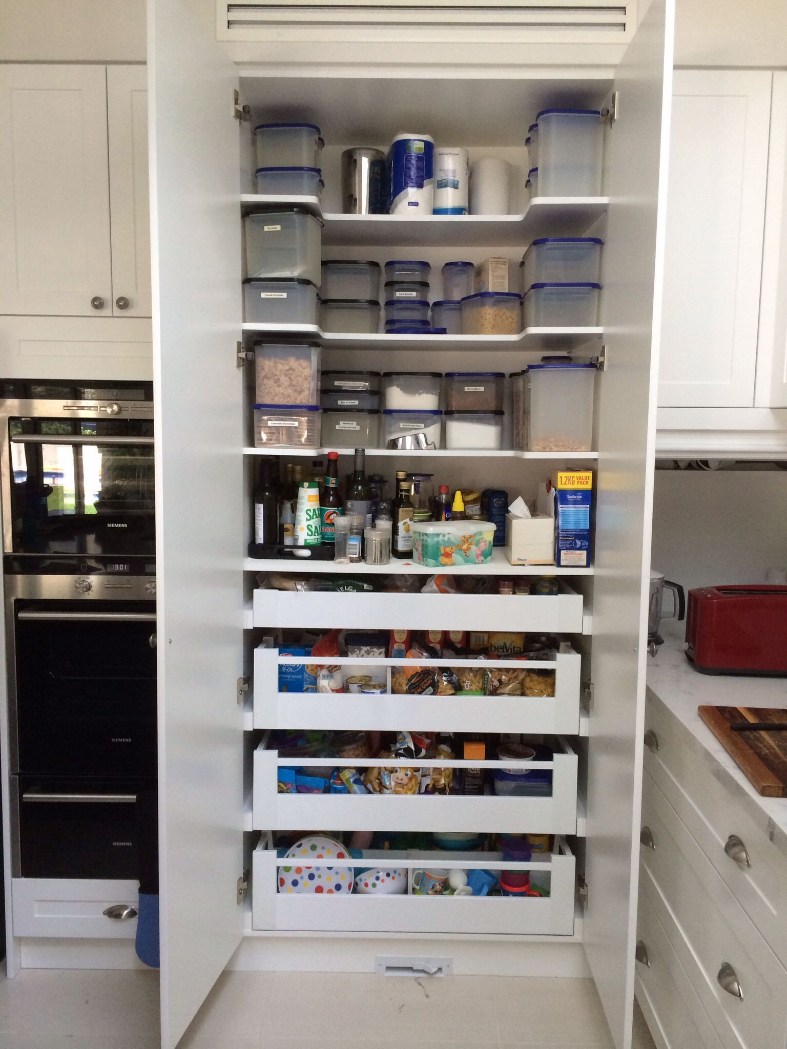 drawers inside the pantry has been working really well blum
