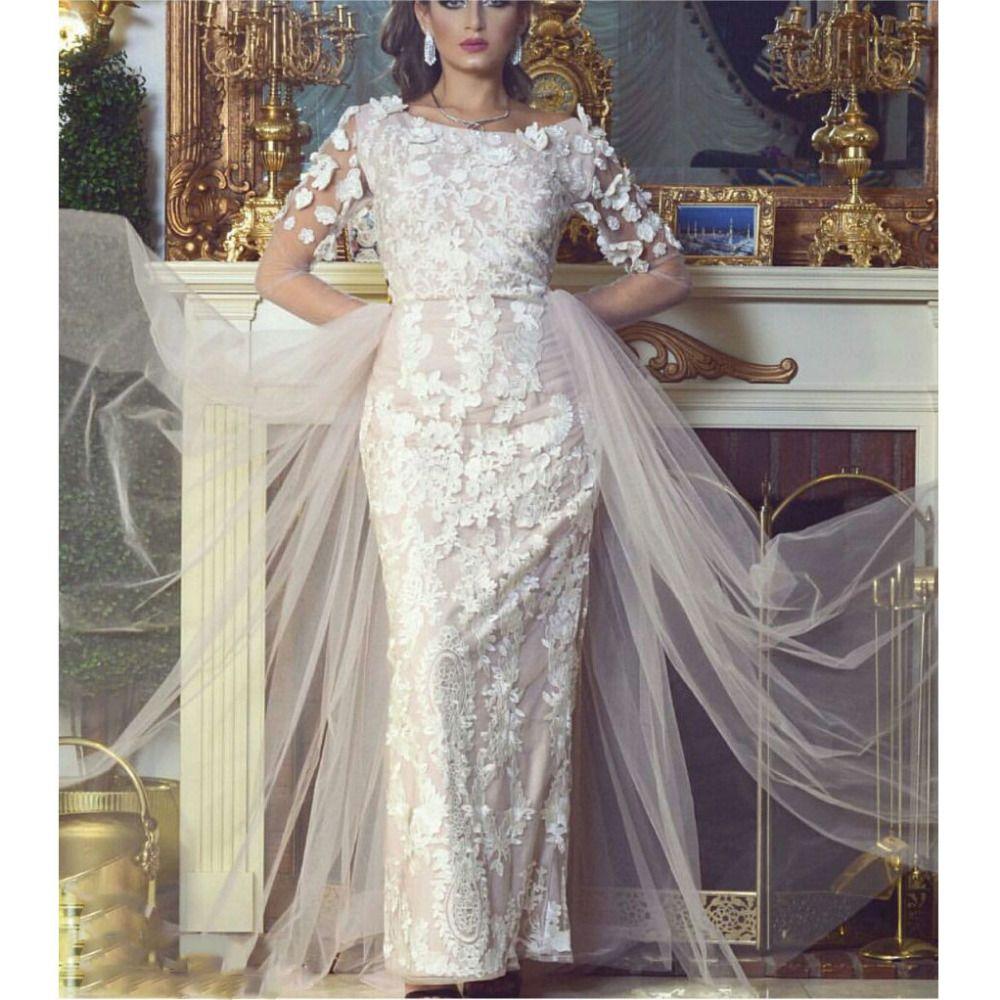 2017 Vestido De Novia Robe De Mariage Floral Handmade FLowers Elegant Appliqued Lace long Sleeve Wedding Dresses