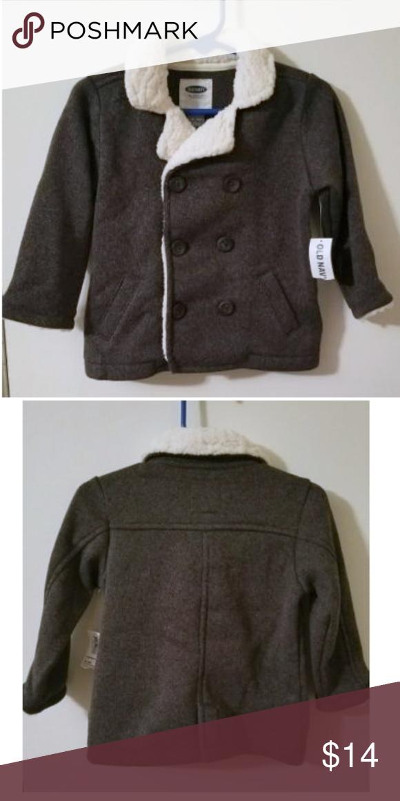 75291182c Sherpa   Fleece Knit Pea Coat Toddler Boy 18-24 mo NWT