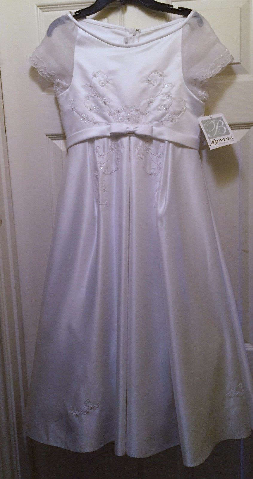 Size girls white sequined dress occasions communion wedding