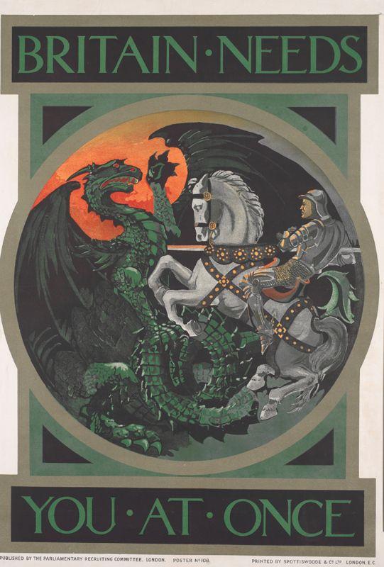 WA54 Vintage WWI German St.George Kaiser Wilhelm War Funding Poster WW1 A1 A2 A3