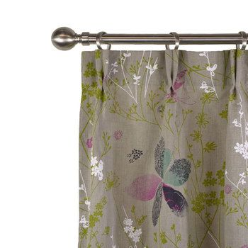 un joli rideau en lin imprimé fleuris vert turquoise (rouge ou