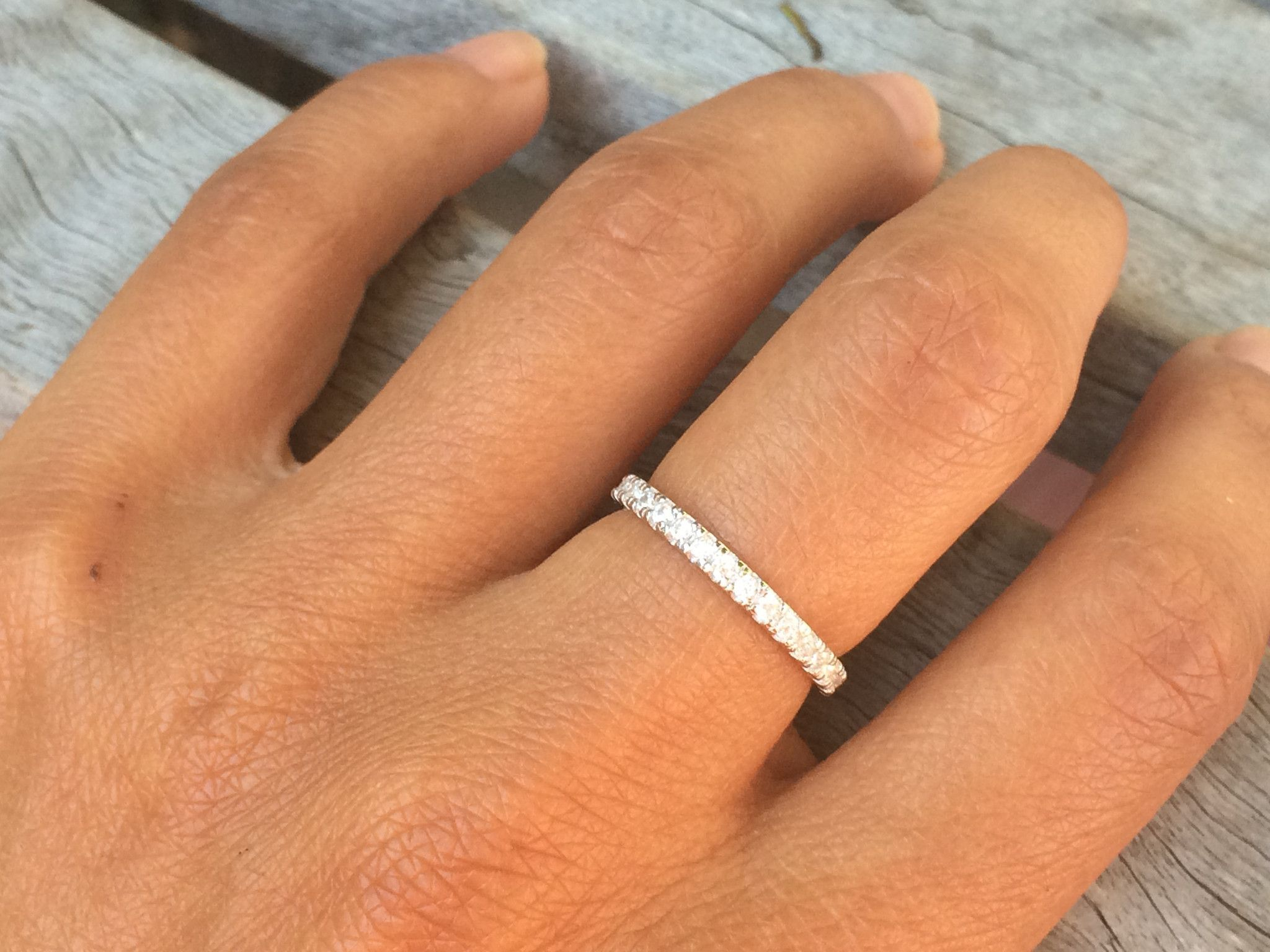 Beautiful Micro Pave Set Eternity Wedding Band Ring Will Not Cause Green Finger Reaction Jewelry Is Stamped 925 Condition New Metal Stamp