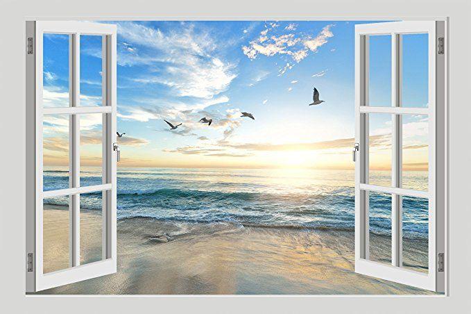 Bild auf Leinwand Wandbild Fensterblick Strand Vögel Ozean