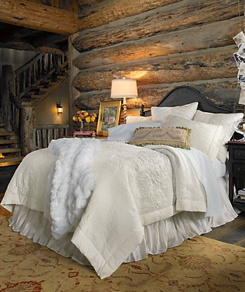 . cabin bedroom   love the dust ruffle and the ivory and white mix of