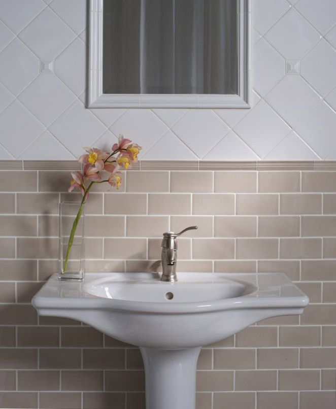 Beige Subway Tile Bathroom Traditional With Ashbury Brick Diamond