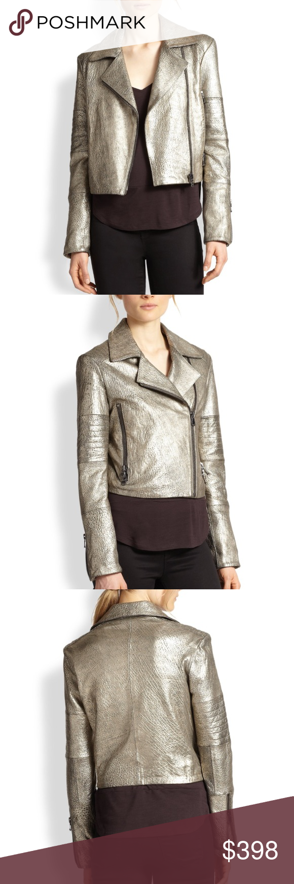 •J Brand• Aiah Metallic Leather Motorcycle Jacket