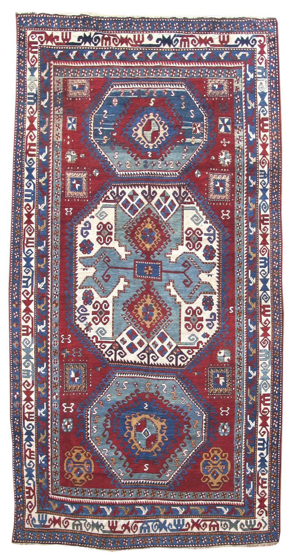 This Kazak rug conveys a uniquely Caucasian interpretation