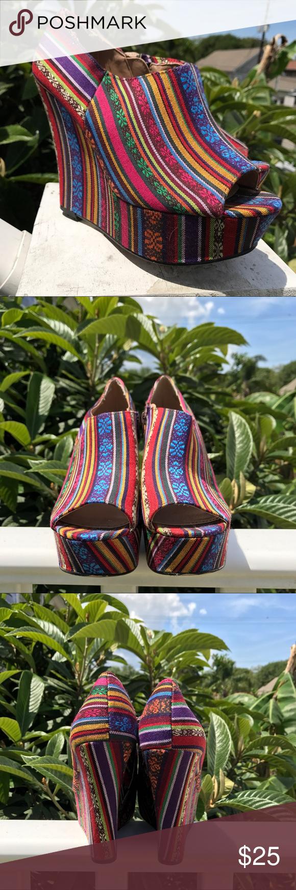 "Steve Madden baja wedges 🌈 🏝 ""Tribal print"" platform wedge sandals from Steve Madden. 5"" heel // 1  3/4"" platform. 🌹 If these are your size make an offer (^。^) Steve Madden Shoes Wedges"