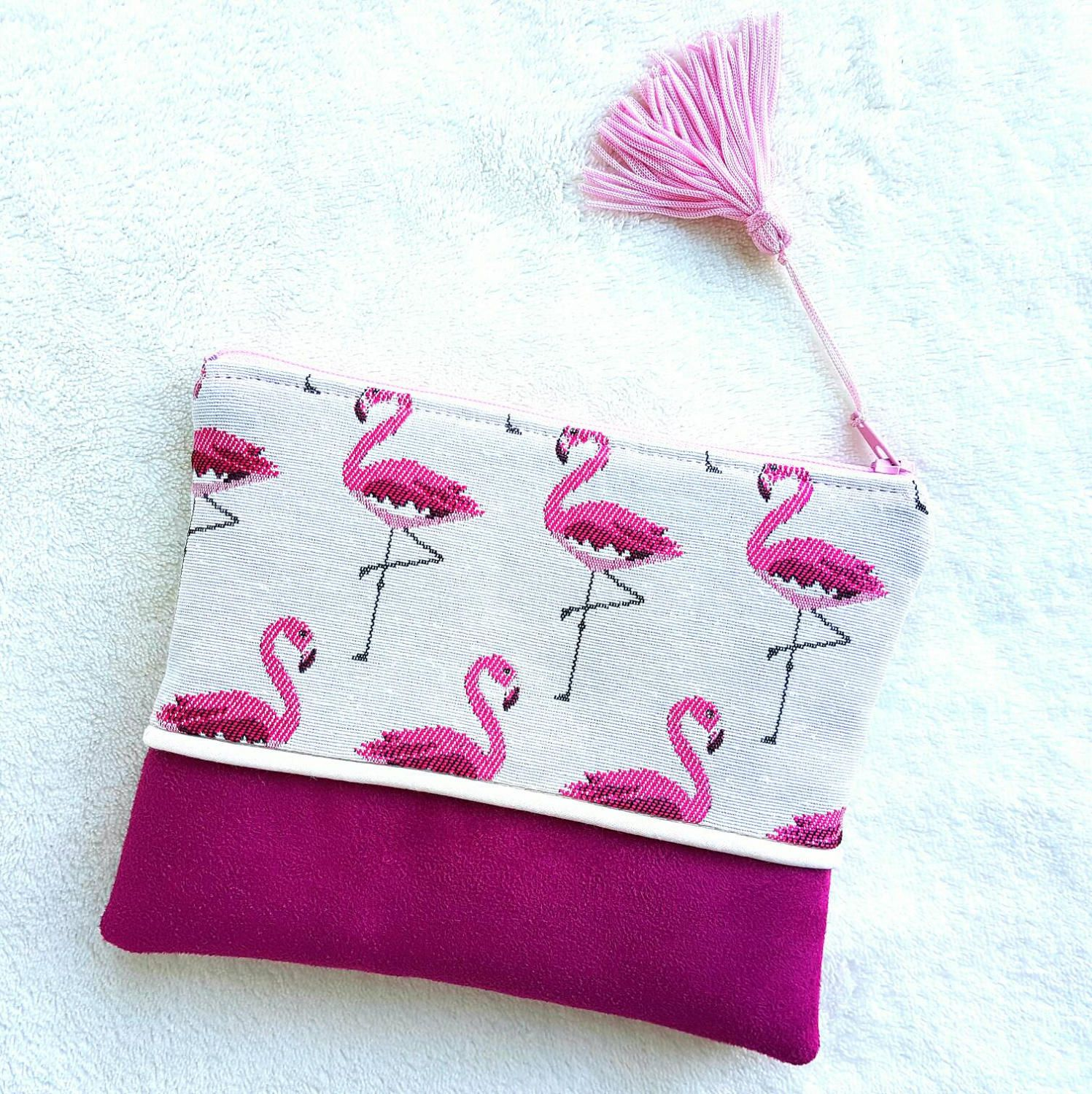 Mini handmade pocket in fuchsia pink suede and jacquard fabric ...