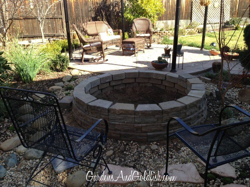 """Our goldfish pond in progress. I used """"stackable"""" bricks"""