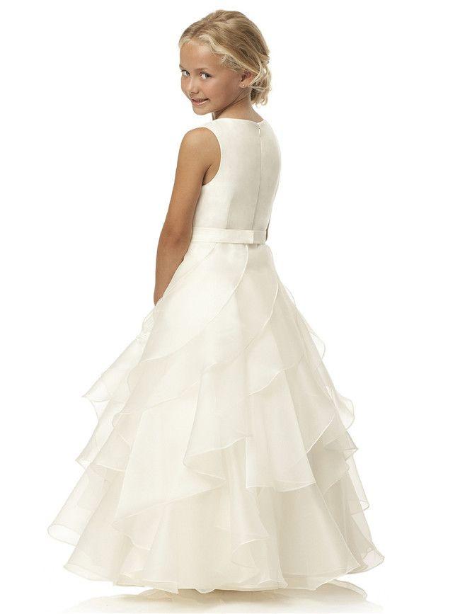 2015 A-Line Floor-Length Tank Scoop Sashes Sleeveless White Flower Girl Dresses Vestidos De Comunion Vestido Daminha Casamento