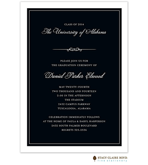 formal graduation announcement invitation in black and white little angel announcements
