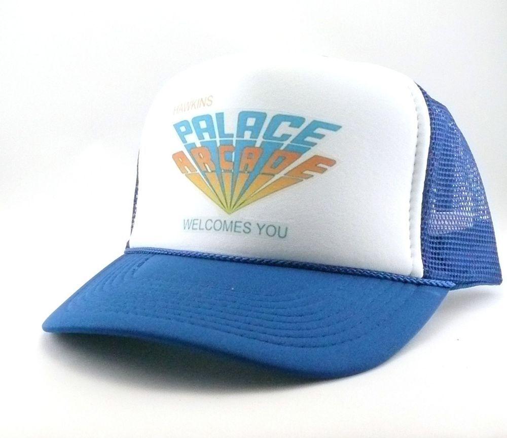 e49ca2ff18d31 Hawkins Palace Arcade Trucker Hat mesh hat snapback hat blue Stranger Things   Truckerhat  TruckerHat