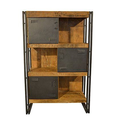 b cherregal vitrine schrank modernes m bel aus massivholz metall und industrial design. Black Bedroom Furniture Sets. Home Design Ideas