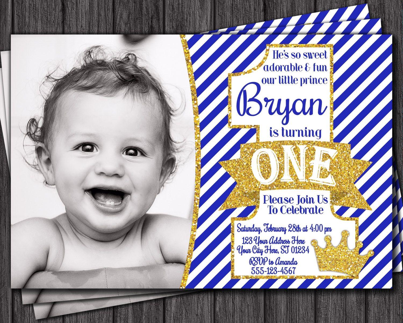 Prince Birthday Invitation - First Birthday Invitations - Royal Blue ...