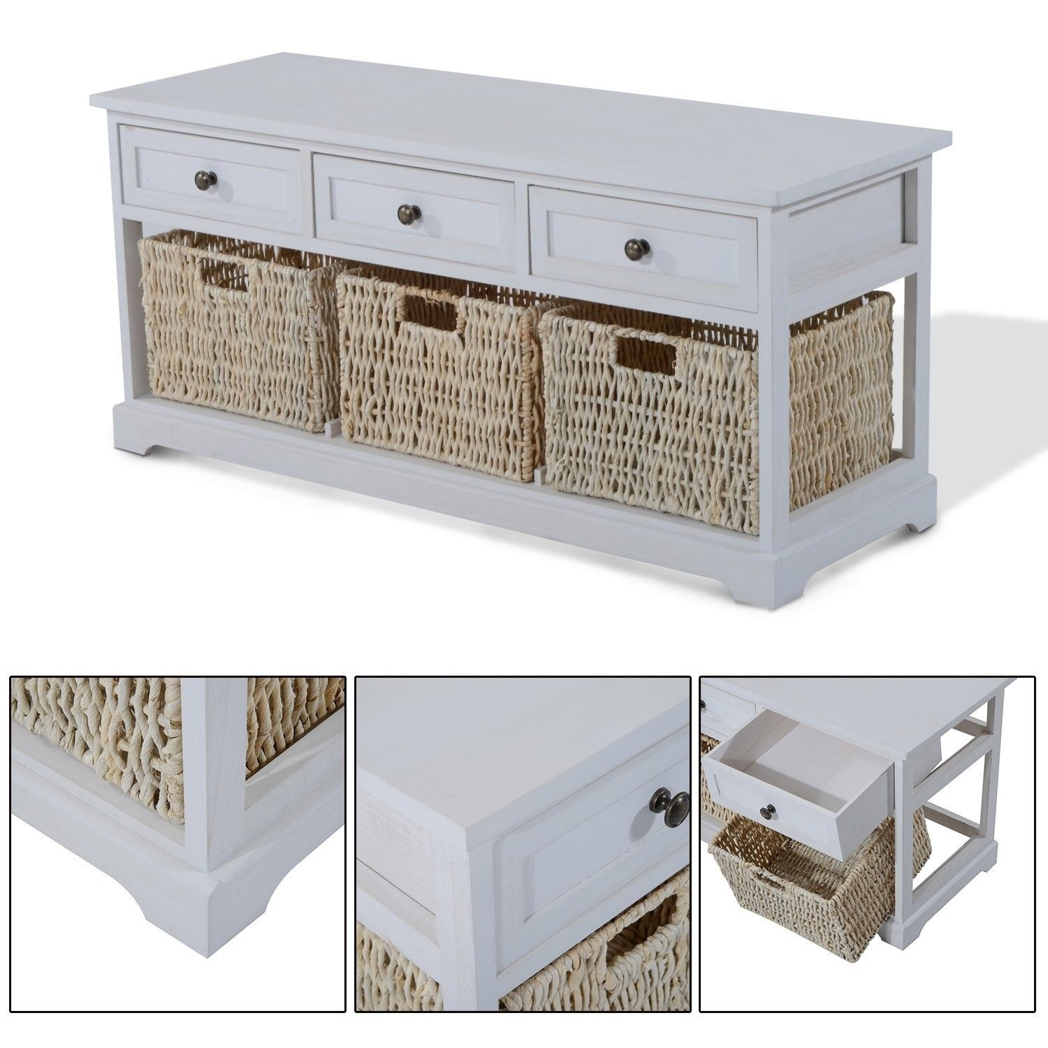 Wooden Coffee Table With Seagrass Wicker Storage Baskets Ideal Home Show Shop Sideboard Storage Wicker Baskets Storage