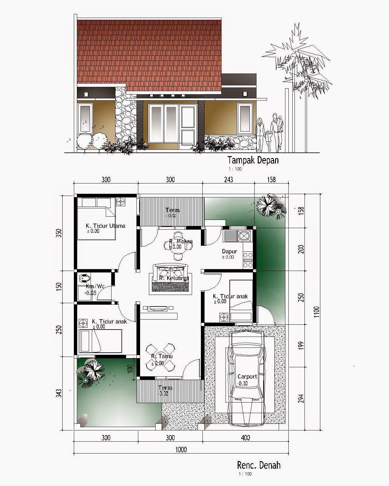 Denah Rumah Minimalis 3 Kamar Tidur Property 45m2 Type Denah