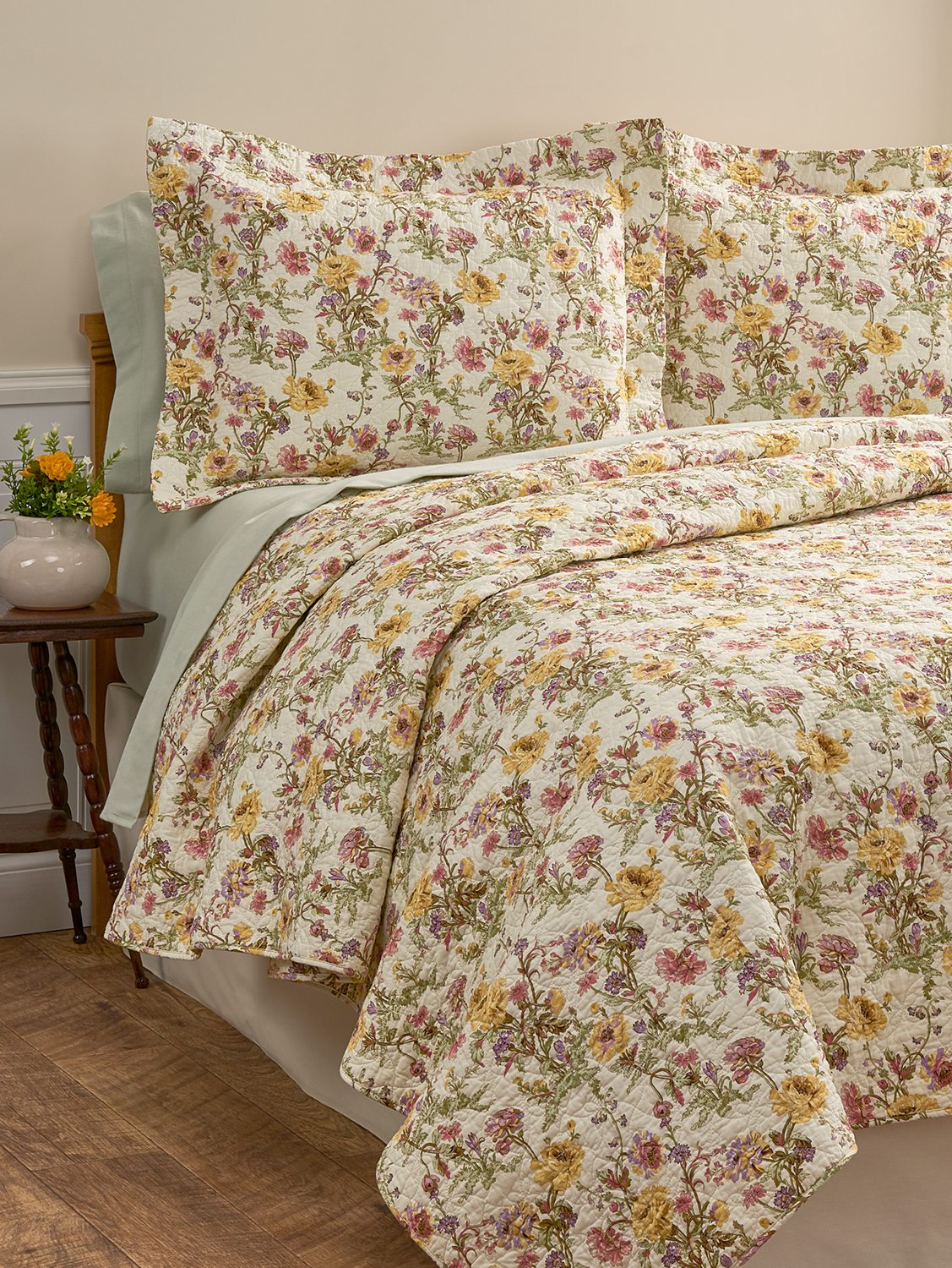 Floral Print Cotton Quilted Bedspread Lightweight Bedding Quilted Coverlet Quilted Bedspreads