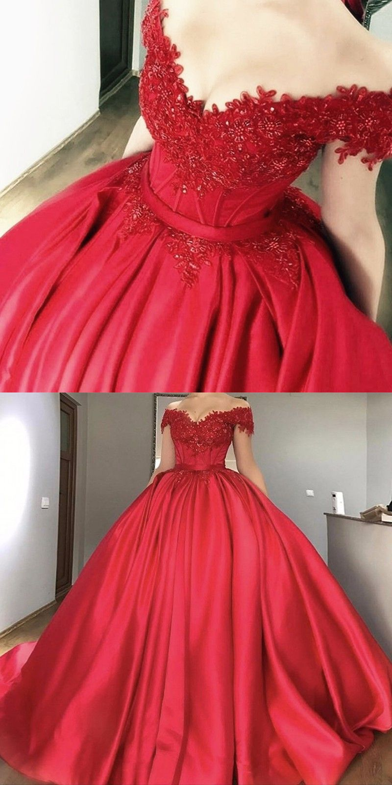 Ball Gown OfftheShoulder Red Beaded Satin Prom Dress with Pleats