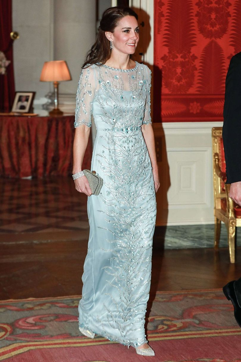 Catherine, Duchess of Cambridge wearing Jenny Packham during her visit to Paris