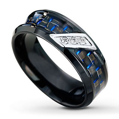 This Black Stainless Steel Wedding Band For Him Is Decorated With Blue Accents A Unique Look Three Round Diamonds Are Diagonally Set Into White