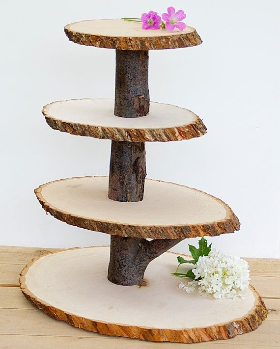 Photo of Items similar to wooden cupcake stand rustic wood tree slice centerpieces wedding decorations made of wood round on etsy