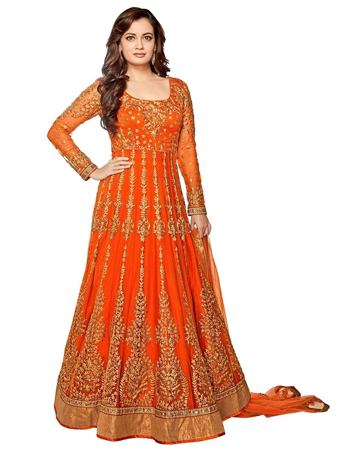 Jesti Designer Women S Net Dress Material Orange Free Size