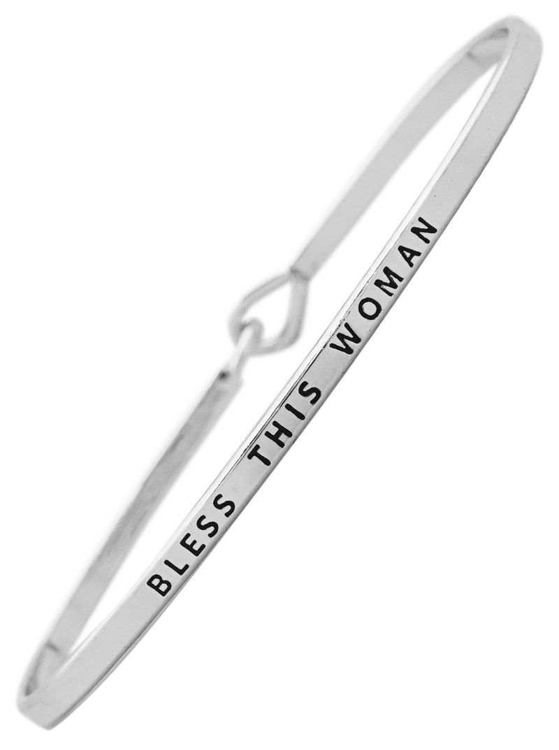 """BLESS THIS WOMAN"" Silver Tone Brass Positive Message Thin Bangle Hook Bracelet for Best Friends, BFF. Oval shaped bracelet measures 7.25"" in circumference - fits small to medium wrists. Silver tone brass bracelet is engraved with ""BLESS THIS WOMAN"". Secure hook clasp - Comes packaged ready for gift giving. Great gift idea for mother, daughter, wife, girlfriend, best friend, sister. Suitable gift for birthday, graduation, Christmas, Easter, Valentine's Day, Mother's Day, graduation…"