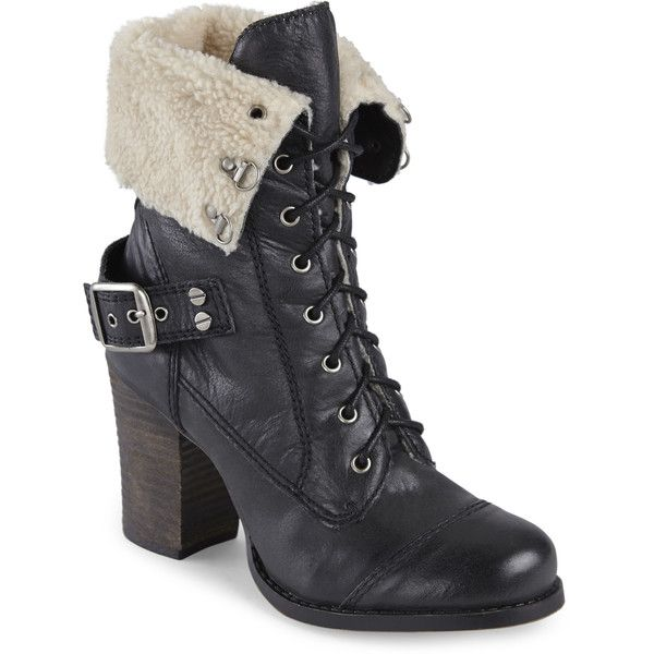 Chinese Laundry Black Bosco Faux Fur Booties featuring polyvore, women's fashion, shoes, boots, ankle booties, blacks, black high heel boots, lace up booties, faux fur boots, black buckle boots and lace up boots