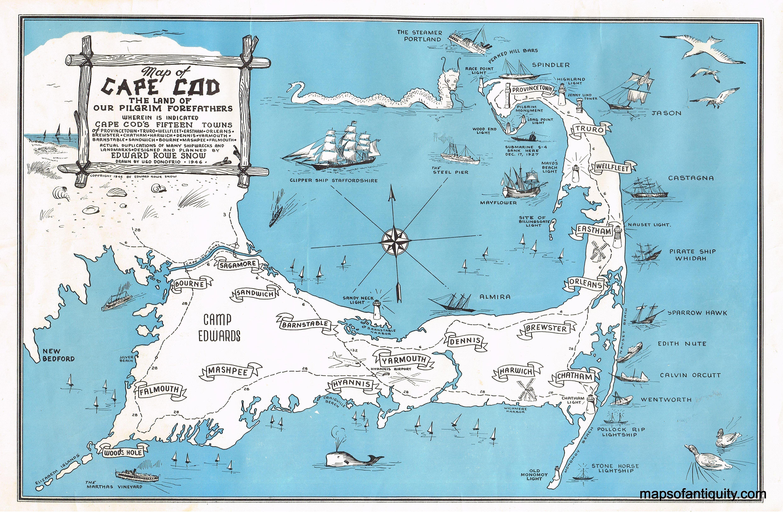 Antique Map of Cape Cod – Original, Vintage, Rare Historical ...